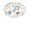 Glass Lamp Bead 13x9mm Oval Crystal/Silver/Light Sapphire